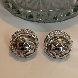 Trifari Art Deco Silver Clip on earrings Art Wear